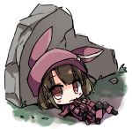 1girl animal_ears animal_hat bangs black_footwear blush boots brown_eyes brown_hair bullpup bunny_hat dated eyebrows_visible_through_hair fur-trimmed_gloves fur_trim gloves gun hat holding holding_gun holding_weapon jacket llenn_(sao) long_sleeves lying on_back p90 pants parted_lips pink_gloves pink_hat pink_jacket pink_pants rabbit_ears shirasu_youichi solo submachine_gun sword_art_online sword_art_online_alternative:_gun_gale_online weapon white_background