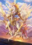 absurdres angel_wings armor blue_sky clouds day dragon fantasy highres holding holding_weapon horn no_humans open_mouth original outdoors sky weapon wings yashiron2011 yellow_eyes