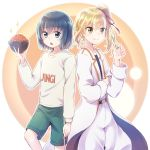 >:) 2girls :o anzu_(hinamatsuri) aqua_eyes aqua_hair beige_shirt blonde_hair bousouzoku bowl brown_eyes clothes_writing commentary food green_shorts gym_shorts hair_ribbon highres hina_(hinamatsuri) hinamatsuri_(manga) holding holding_bowl holding_food ikura_(food) multiple_girls nyaa_(nnekoron) oversized_clothes pants ribbon short_hair shorts side-by-side side_ponytail smile sparkle sweatshirt v-shaped_eyebrows white_coat white_pants