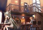 brown_hair cafe chair chin_rest clock cup grandfather_clock koi koi_(koisan) long_hair original phonograph ponytail robot_ears short_hair silver_hair table teacup tray