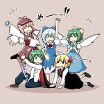 5girls ? animal_ears antennae black_dress blonde_hair blue_dress blue_hair bow brown_legwear cape cirno closed_eyes daiyousei dress green_eyes green_hair hair_bow hair_ribbon hat multiple_girls mystia_lorelei necktie open_mouth pink_hair ponytail red_eyes ribbon rokunen rumia short_hair smile team_9 touhou wings wriggle_nightbug