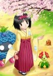 black_hair brown_eyes cherry_blossoms diglett erika_(pokemon) furisode gym_leader hairband japanese_clothes kimono nintendo oddish pokemon pouch soara tangela