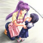 apron black_hair child clannad fujibayashi_kyou jeans kindergarten kindergarten_teacher kneeling long_hair miyai_max ponytail purple_eyes purple_hair school_uniform short_hair twintails violet_eyes