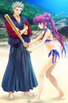 barefoot baseball_bat beach bikini blue_eyes feet hair_bobbles hair_ornament hakama highres jacket japanese_clothes little_busters little_busters! miyazawa_kengo moonknives mutsuki_(moonknives) ponytail purple_hair saigusa_haruka side-tie_bikini swimsuit