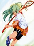 green_eyes green_hair lacrosse long_hair plaid plaid_skirt ponytail skirt tartan