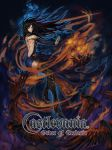 akumajo_dracula black_hair blue_eyes castlevania castlevania:_order_of_ecclesia crow goenitzchild highres konami logo long_hair magic order_of_ecclesia raven raven_(animal) raven_(bird) shanoa tattoo title_drop