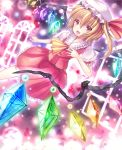ascot bad_id blonde_hair dress flandre_scarlet frills hat kiyu purple_background rainbow_order red_dress short_hair side_ponytail solo touhou