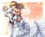 blonde_hair braid bride dress flower hand_holding holding_hands inuduka_bouru inuzuka_bouru kirisame_marisa marriage ribbon short_hair touhou wedding wedding_dress yuri