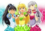 breasts choker cleavage count24 fingerless_gloves ganaha_hibiki gloves headphones headphones_around_neck hoshii_miki idolmaster long_hair nishi_(count2.4) ponytail pop_sound_blossom shijou_takane smile v wink