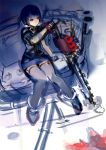 1girl black_hair blood chainsaw character_request couch garter_straps knees_together_feet_apart miniskirt red_eyes rough short_hair sitting skirt so-bin solo thigh-highs