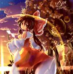 bad_id bow brown_hair detached_sleeves gohei hair_bow hakurei_reimu japanese_clothes lens_flare light_kiseki miko ponytail sunset touhou