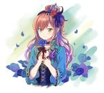 1girl bang_dream! bangs black_choker blue_flower blue_jacket blue_rose boutonniere breasts brown_hair choker cleavage commentary_request cross-laced_clothes crown earrings feathers flower frilled_sleeves frills green_eyes hair_feathers hair_flower hair_ornament hairband half_updo highres holding holding_flower imai_lisa jacket jewelry long_hair looking_at_viewer necklace petals red_flower red_rose ribbon rose shati smile solo striped striped_ribbon upper_body