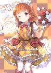 1girl ;) argyle argyle_dress argyle_legwear bangs blush bow bowtie braid character_name chocolate chocolate_heart commentary_request doily dress earrings food frilled_dress frilled_sleeves frills gloves hair_ribbon heart heart_earrings holding holding_tray jewelry love_live! love_live!_sunshine!! macaron maid_headdress niwasane_(saneatsu03) one_eye_closed orange_hair puchiguru_love_live! red_eyes red_neckwear red_ribbon ribbon short_hair short_sleeves side_braid smile solo star sweets takami_chika tray twitter_username white_gloves yellow_dress