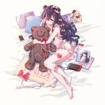 1girl bangs barefoot bed_sheet black_hair blush bow candy candy_hair_ornament cellphone earphones earphones earphones_removed food food_themed_hair_ornament frilled_legwear hair_bow hair_ornament hairclip heart highres lingerie long_hair looking_at_viewer lying magazine nintendo nintendo_switch on_side open_mouth original phone pillow red_ribbon ribbon ribbon-trimmed_legwear ribbon_trim rubbing_eyes side_bun sign single_sock smartphone smile socks socks_removed solo striped striped_bow stuffed_animal stuffed_bunny stuffed_toy teddy_bear thigh_strap underwear violet_eyes wavy_hair yuzhi