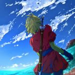 1boy blonde_hair blue_gloves blue_sky clouds cowboy_shot day dragon_quest dragon_quest_vii facing_away from_behind gloves haru_hikoya kiefer ocean outdoors puffy_short_sleeves puffy_sleeves short_sleeves signature sky solo sword sword_behind_back water weapon