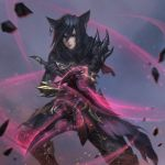 1girl black_hair closed_mouth commission dual_wielding earrings facial_mark fighting_stance final_fantasy final_fantasy_xiv gloves glowing glowing_weapon hair_between_eyes highres jewelry lips long_hair looking_at_viewer miqo'te nguyen_uy_vu ninja_(final_fantasy) red_eyes solo weapon