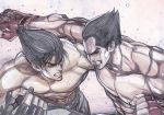 2boys abs absurdres bared_teeth battle black_hair blue_eyes clenched_hands dodging father_and_son fighting hair_slicked_back highres kazama_jin male_focus mishima_kazuya multiple_boys muscle pectorals punching red_eyes scar shirtless tekken yoshihara_motoki