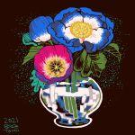 black_background blue_flower dated flower highres leaf no_humans original partially_immersed plant procreate_(medium) purple_flower signature tomidoron vase water