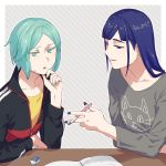 2others alternate_costume androgynous aqua_eyes aqua_hair artist_request bangs blue_eyes blue_hair blunt_bangs colored_eyelashes contemporary desk eraser green_eyes green_hair highres houseki_no_kuni jacket jersey lapis_lazuli_(houseki_no_kuni) long_hair nail_polish notebook pen phosphophyllite shirt short_hair smile sweatdrop t-shirt