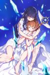 2girls bangs bare_shoulders barefoot blurry blurry_foreground braid brown_hair card_captor_sakura closed_eyes closed_mouth collarbone commentary_request crying crystal daidouji_tomoyo depth_of_field dress eyebrows_visible_through_hair highres hug kinomoto_sakura long_hair multiple_girls off-shoulder_dress off_shoulder parted_lips pomu purple_hair smile tears toenails very_long_hair wand white_dress yume_no_tsue