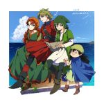 1girl 3boys belt black_eyes black_footwear black_hair blue_cape blue_sky boots brown_footwear brown_hair cape closed_mouth clouds copyright_name day dragon_quest dragon_quest_vii eating food full_body green_eyes green_hair haru_hikoya holding holding_food long_sleeves multiple_boys ocean outside_border parted_lips sitting sky smile standing water