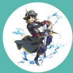 1boy ascot black_eyes black_footwear black_hair boots chameleon dragon_quest dragon_quest_vii full_body hands_on_hilt haru_hikoya hat hero_(dq7) long_sleeves male_focus open_mouth pirate_costume pirate_hat skull_and_crossbones solo sword water weapon