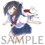 1girl :d animal bangs black_hair blue_eyes blue_ribbon blue_sailor_collar blue_skirt blush bow collarbone commentary_request eyebrows_visible_through_hair fox hair_ribbon long_hair one_side_up open_mouth original pleated_skirt red_bow ribbon sailor_collar sample school_uniform serafuku shirt short_sleeves simple_background skirt smile solo suzunari_shizuku white_background white_shirt yuki_arare
