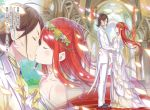 1boy 1girl brown_hair church closed_eyes couple dress eye_contact floating_hair flower formal french_kiss from_side full_body grey_flower head_wreath highres jacket kiss long_dress long_hair looking_at_another novel_illustration official_art ootsuka_shin'ichirou pants re:zero_kara_hajimeru_isekai_seikatsu redhead standing theresia_van_astrea very_long_hair wedding wedding_dress white_dress white_jacket white_pants wilhelm_(re:zero) yellow_flower