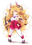 1girl animal_ears blonde_hair breasts closed_mouth detached_sleeves eyebrows_visible_through_hair fox_ears fox_tail full_body hakama_skirt hip_vent izuna_(shinrabanshou) large_breasts long_hair looking_at_viewer multiple_tails nontraditional_miko red_eyes reku ribbon-trimmed_legwear ribbon_trim shinrabanshou sideboob smile solo standing sword tail thigh-highs weapon white_background white_legwear