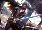 1boy abs black_wings boots feathers fighting_stance final_fantasy final_fantasy_vii holding holding_sword holding_weapon katana long_hair male_focus outdoors pectorals pillar ruins sephiroth shoulder_armor silver_hair single_wing solo sword weapon wings xong yellow_eyes