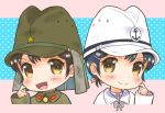 2girls black_hair blush bow brown_eyes chibi commentary hair_bow hair_ornament hairclip hand_on_own_cheek hand_up hat imperial_japanese_army imperial_japanese_navy looking_at_viewer m_tap military military_uniform multiple_girls naval_uniform open_mouth original polka_dot polka_dot_background portrait short_hair smile soldier uniform