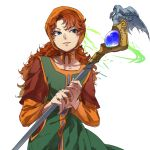 1girl bangs blue_eyes brown_hair dragon_quest dragon_quest_vii green_eyes haru_hikoya holding holding_staff long_hair long_sleeves parted_lips simple_background solo staff upper_body white_background
