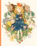 3girls ankle_strap bag blonde_hair blue_dress blush book bouquet braiding_hair bunny_head bunny_tail candy chin_strap closed_eyes commentary_request cover cover_page cracker demon_horns doujin_cover dress fake_horns flower food grey_legwear hair_flower hair_ornament hairdressing handbag headband high_heels holding holding_stuffed_animal horns long_sleeves lying maid multiple_girls needle no_shoes object_hug object_on_head on_back original pantyhose pechika pink_ribbon red_footwear ribbon scissors sleeping smile star striped_horns stuffed_animal stuffed_bunny stuffed_toy tail teddy_bear thread u_u white_flower white_legwear yarn yarn_ball yarn_bobbin zzz