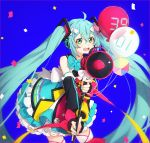 1girl 39 :d balloon bare_shoulders blue_background blue_nails blue_skirt blush commentary confetti fingernails frilled_skirt frills green_eyes green_hair hair_ornament hakusai_(tiahszld) hatsune_miku headphones leaning_forward long_hair long_sleeves megaphone nail_polish open_mouth shirt sidelocks skirt sleeveless sleeveless_shirt smile solo thigh-highs twintails upper_teeth very_long_hair vocaloid white_shirt