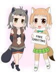 2girls :/ american_beaver_(kemono_friends) animal_ears antenna_hair arms_behind_back bare_legs beaver_ears beaver_tail bike_shorts black-tailed_prairie_dog_(kemono_friends) black_bra black_footwear black_hair blush bow bowtie bra brown_eyes center_opening chibi closed_mouth commentary_request cutoffs elbow_gloves english full_body fur_collar gloves green_bow green_neckwear green_skirt grey_hair holding holding_sign kemono_friends kirigamine light_brown_hair long_sleeves looking_at_viewer multicolored_hair multiple_girls navel open_mouth plaid plaid_skirt pleated_skirt prairie_dog_ears prairie_dog_tail shoe_bow shoes short_hair short_shorts shorts shorts_under_shorts sign skirt smile standing stomach sweater tail thigh-highs underwear vest white_footwear white_hair zettai_ryouiki