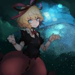 1girl blonde_hair blue_eyes breasts doll doll_joints eyebrows eyebrows_visible_through_hair hair_ribbon highres looking_at_viewer medicine_melancholy medium_hair night night_sky particles phantasmagoria_of_flower_view pigeoncrow poison red_ribbon ribbon sky small_breasts smile touhou