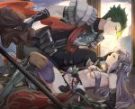 1boy 1girl achilles_(fate) after_battle armor blood boots braid breasts claws elbow_gloves fate/grand_order fate_(series) fingerless_gloves gloves green_hair grey_hair hand_on_another's_face highres injury kneeling long_hair lying mosta_(lo1777789) on_back pauldrons penthesilea_(fate/grand_order) red_scarf scarf short_hair sidelocks small_breasts thigh-highs weapon yellow_eyes