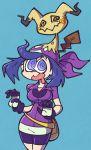 1girl @_@ al_bhed_eyes alternate_breast_size bags_under_eyes bandanna bike_shorts cosplay gloves haruka_(pokemon) haruka_(pokemon)_(cosplay) hex_maniac_(pokemon) messy_hair mimikyu open_mouth pokemon pokemon_(creature) pokemon_(game) pokemon_oras pokemon_xy purple_hair shenanimation violet_eyes
