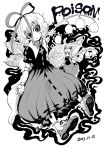 2girls blackcat_(pixiv) creepy_eyes doll doll_joints expressionless flat_chest flower fog graphite_(medium) highres horror_(theme) leaf lily_of_the_valley long_hair medicine_melancholy medium_hair monochrome multiple_girls phantasmagoria_of_flower_view poison puffy_short_sleeves puffy_sleeves ribbon shoes short_sleeves size_difference socks su-san touhou traditional_media white_ribbon