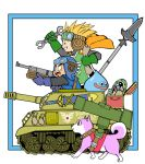 1girl 2boys blonde_hair blue_gloves commentary_request crossover dog dragon_quest dragon_quest_ii gloves goggles ground_vehicle metal_max military military_vehicle millipen_(medium) motor_vehicle multiple_boys outside_border pilot_helmet polearm prince_of_lorasia prince_of_samantoria princess_of_moonbrook shiba_inu short_hair slime_(dragon_quest) spear spiky_hair sword tank traditional_media treasure_chest walking weapon