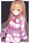 1girl absurdres black_hair blonde_hair blush cat_ear_headphones cellphone closed_mouth eyebrows_visible_through_hair headphones headphones_around_neck highres ienaga_mugi iphone long_hair long_sleeves looking_at_viewer mirea multicolored_hair nijisanji phone pink_pajamas smartphone solo striped striped_pajamas virtual_youtuber yellow_eyes