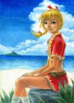 1girl blonde_hair blue_eyes braid breasts chrono_cross colored_pencil_(medium) commentary_request highres jewelry kid_(chrono_cross) long_hair looking_at_viewer midriff necklace ocean ponytail single_braid skirt smile solo traditional_media vest watercolor_(medium)