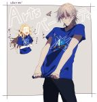 2boys alternate_costume antonio_salieri_(fate/grand_order) arts_shirt blue_shirt closed_eyes fate/grand_order fate_(series) hair_between_eyes highres laughing long_hair multiple_boys open_mouth pointing shirt sweatdrop t-shirt teardrop wolfgang_amadeus_mozart_(fate/grand_order)