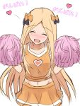 1girl :d ^_^ abigail_williams_(fate/grand_order) absurdres bangs black_bow blonde_hair blush bow closed_eyes collarbone commentary_request facing_viewer fate/grand_order fate_(series) hair_bow hands_up head_tilt heart highres holding long_hair mitiru_ccc2 nose_blush open_mouth orange_bow orange_shirt orange_skirt parted_bangs pleated_skirt pom_poms shirt simple_background sketch skirt sleeveless sleeveless_shirt smile solo translation_request very_long_hair white_background