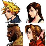 2boys 2girls absurdres aerith_gainsborough album_cover barret_wallace beard blonde_hair blush bow brown_hair cloud_strife collage cover dark_skin earrings facial_hair final_fantasy final_fantasy_vii from_side gorillaz hair_bow hair_over_one_eye highres jewelry lips long_hair mohawk multiple_boys multiple_girls robert_porter short_hair sidelocks spiky_hair tifa_lockhart turtleneck undercut very_dark_skin very_short_hair
