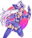 1girl android artist_request ass blue_eyes breasts cleavage cyborg dark_skin elbow_gloves glasses gloves gun large_breasts long_hair looking_at_viewer silver_hair skirt smile solo t-elos thigh-highs under_boob weapon xenoblade_(series) xenoblade_2 xenosaga xenosaga_episode_iii