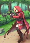 1girl blonde_hair blue_eyes boots bush check_commentary cloak commentary commentary_request explosive fingerless_gloves forest gloves grenade gun holding holding_gun holding_weapon hood knee_boots little_red_riding_hood little_red_riding_hood_(grimm) load_bearing_vest nature original paw_print rifle sniper_rifle solo thigh-highs tree vss_vintorez weapon x_ace_k_x