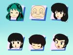 3boys 3girls cherry_(urusei_yatsura) head_only lum mendou_shuutarou miyake_shinobu moroboshi_ataru multiple_boys multiple_girls parody ranma_1/2 sakura_(urusei_yatsura) simple_background urusei_yatsura