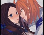 2girls after_kiss ahoge aoki_shizumi blue_eyes blue_gloves blush brown_hair chaldea_uniform eye_contact eyebrows_visible_through_hair face-to-face fate/grand_order fate_(series) from_side fujimaru_ritsuka_(female) gloves hair_between_eyes leonardo_da_vinci_(fate/grand_order) long_hair looking_at_another multiple_girls orange_eyes orange_hair saliva saliva_trail scrunchie shirt side_ponytail star sweat tearing_up tongue tongue_out upper_body white_shirt yuri