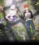 1boy 1girl arm_up blue_pants brown_eyes brown_hair day dress emiya_shirou fate/stay_night fate_(series) flower from_above hair_ribbon highres holding holding_flower jacket key_visual long_hair lying matou_sakura official_art on_back open_clothes open_jacket outdoors pants pink_flower purple_hair red_ribbon ribbon shirt short_sleeves spiky_hair sundress white_dress white_shirt